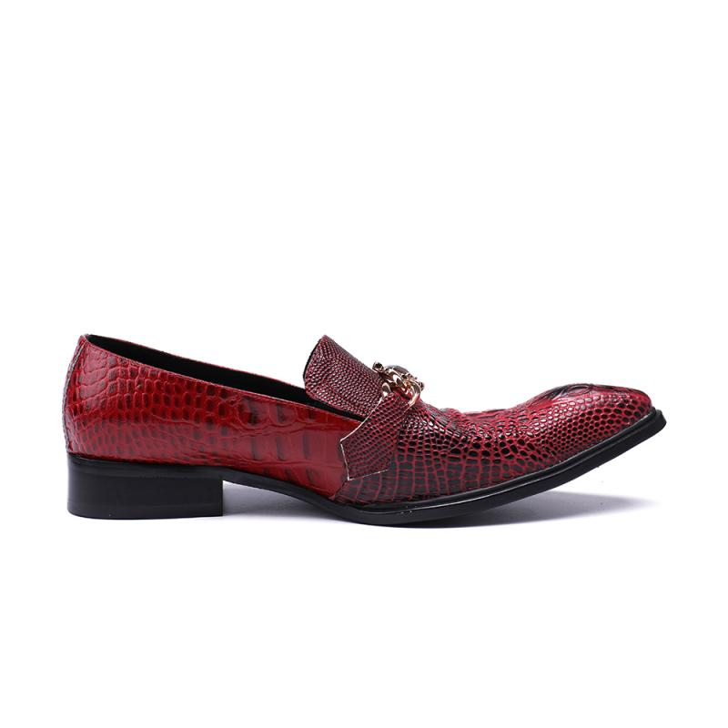 Men Pointed Toe Oxford Shoes Wine Red Crocodile Genuine Leather Formal  Dress Wedding Shoes Slip On Flats Tenis Sapato Masculino-in Formal Shoes  from Shoes ... bf8426b38157