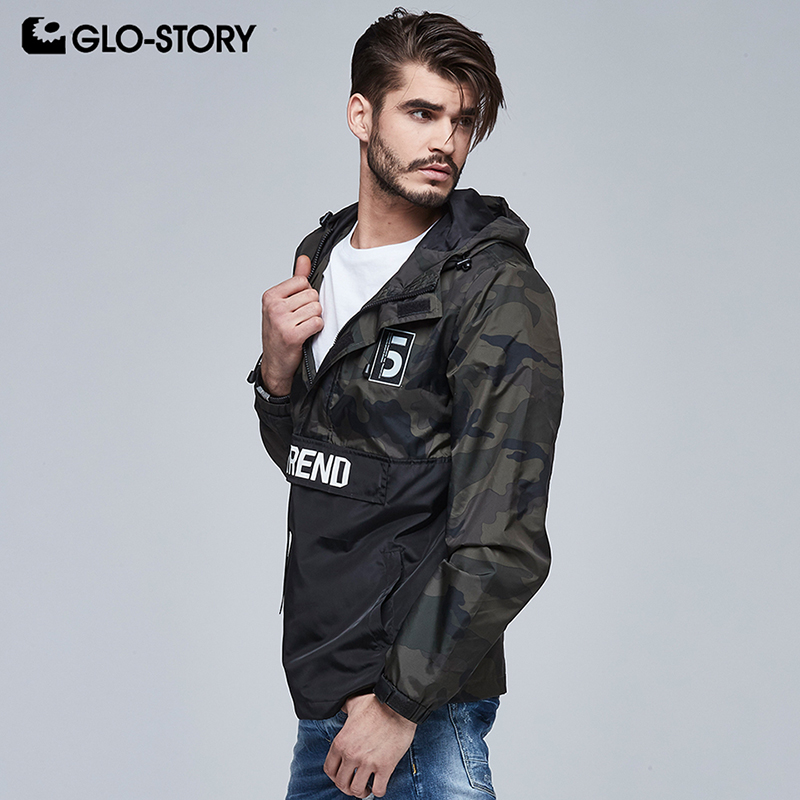 GLO-STORY Men's 2018 New Windbreaker Camouflage Military Jacket Men Tab Front Pocket Hip Hop Coat MFY-5991