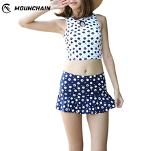 Women Summer Tankini Sweet Wave Point Printing Bathing Split Swimsuit Tops and Skirt split tankini set