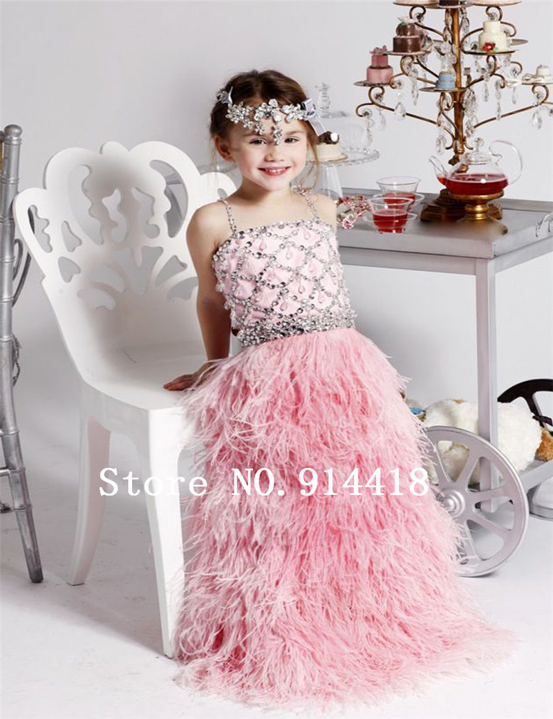 Spaghetti Straps Crystal Kids Evening Gowns Tailor Christmas Dress ...