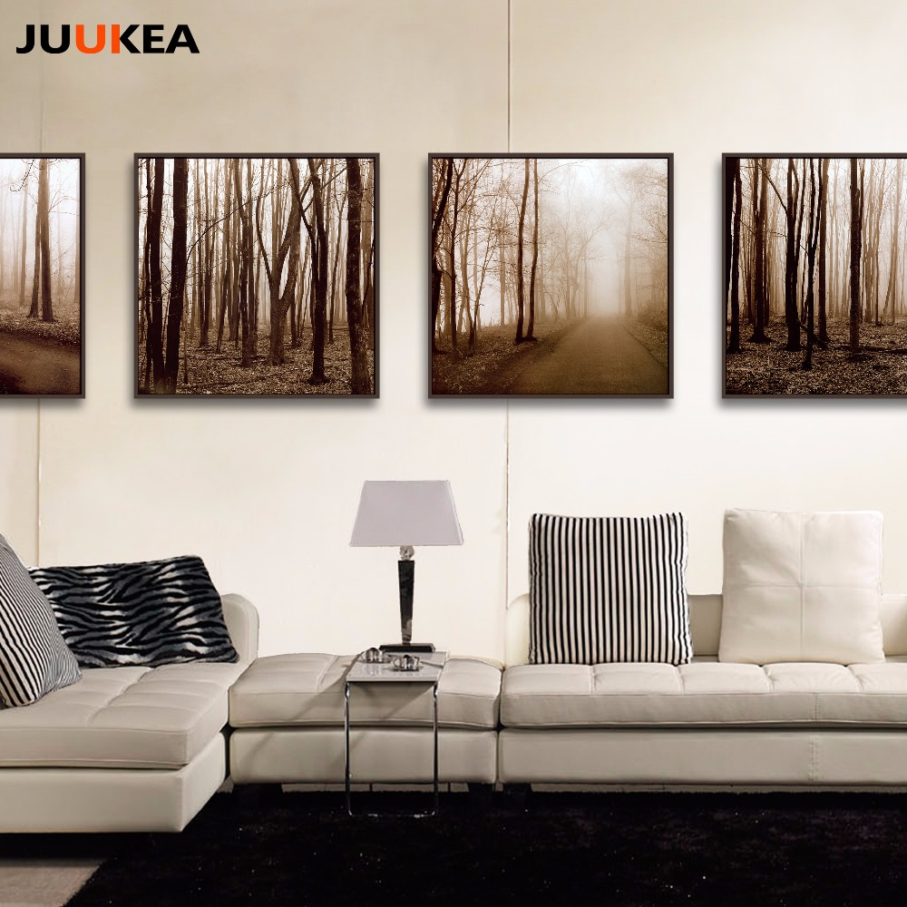 Black White Style Forest Tree Landscape Photography Art Canvas Print Painting Poster Wall Pictures