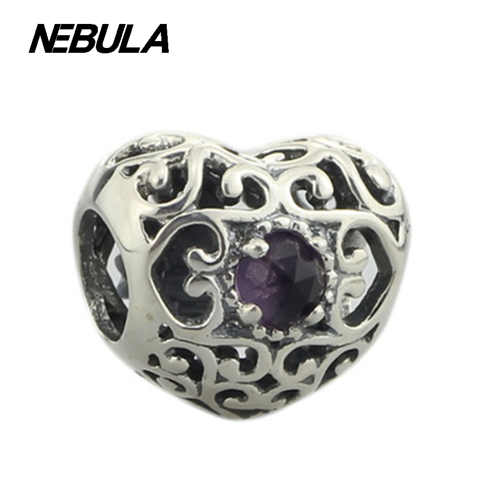 3d66235af ... authentic 925 sterling silver february silver heart charm with  synthetic amethyst bead fits ...