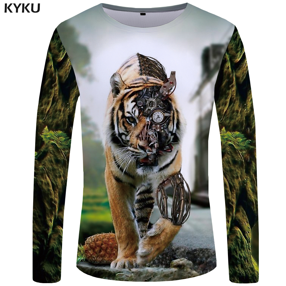 KYKU Tiger   T     shirt   Men Long sleeve   shirt   Mechanical Funny   T     shirts   Punk Printed Tshirt Funny Rock Animal 3d   T  -  shirt   Cool Casual