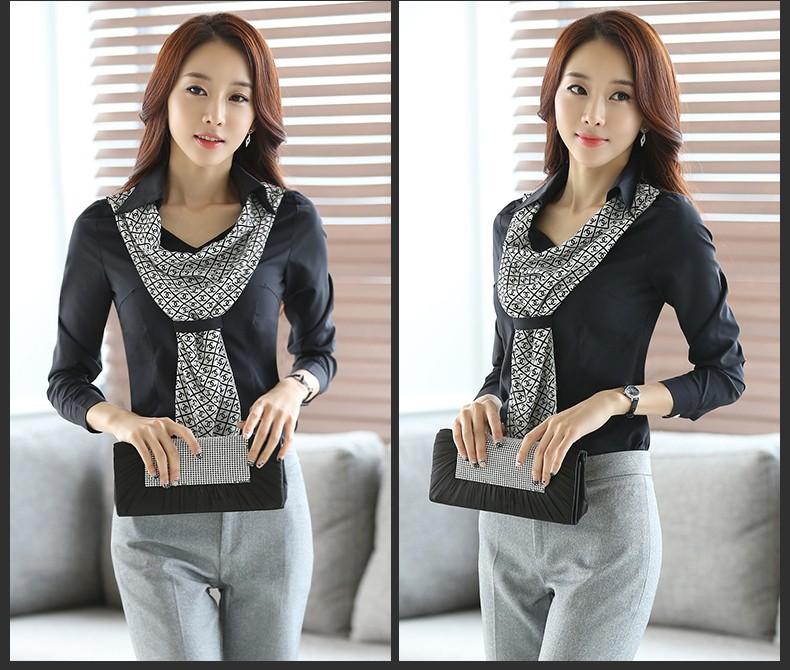 HTB1 .OhJpXXXXaZXFXXq6xXFXXXS - Women's shirt slim formal scarf collar long-sleeve blouses