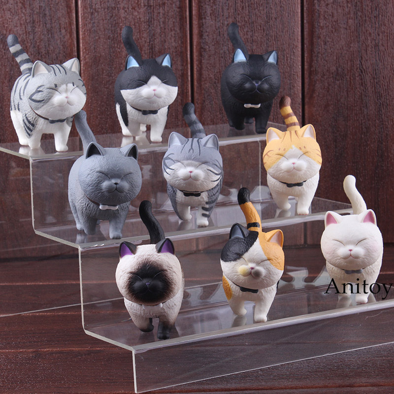 лучшая цена Cartoon Lovely Kawaii Cats Neko Action Figure PVC Cat Figure Decoration Animal Figures Toys Dolls 9pcs/set