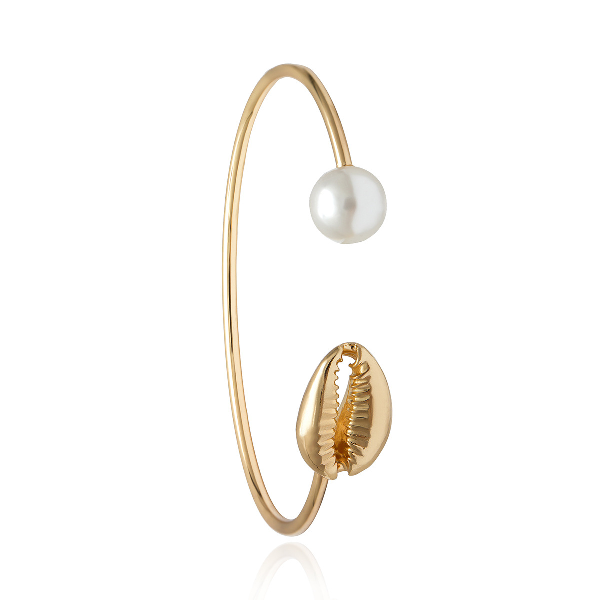 Gold Color Cowrie Shell Bracelets for Women Pearl Beads Charm Cuff Opening Bracelet Bohemian Beach Jewelry Mujer Pulseras 4