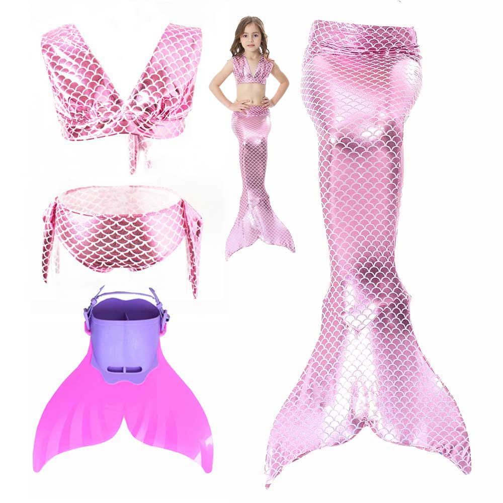 Girls Walkable And Swimmable Mermaid Tail Swimsuit Costume Kids Sparkle Princess Mermaid Tail And Bikini Swimming Set