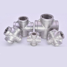 купить Stainless Steel 304 1/8 1/4 3/8 1/2 3/4 1 1-1/4 1-1/2 Female BSP Thread Pipe Fitting 4 way Equal Cross Connector SS304 дешево