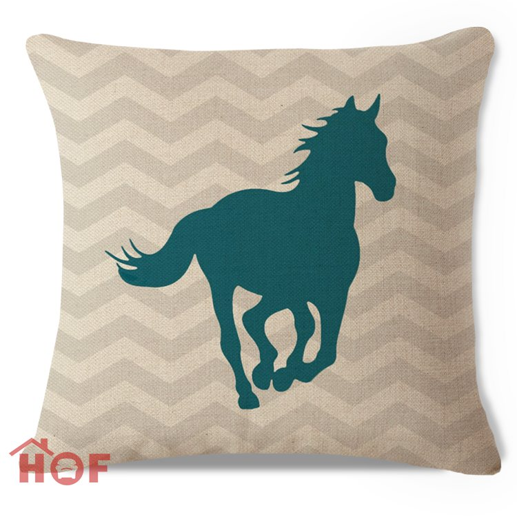 Decorative Throw Pillow Case Grey Chevron Teal Horse Cotton Linen HEAVY  WEIGHT FABRIC Outdoor Couch Sofa