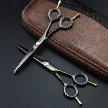 Профессиональные 5,5 дюймовые двуххвостые ножницы, черные филировочные ножницы, набор парикмахерских ножниц, парикмахерские ножницы