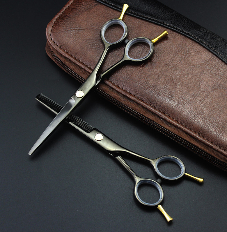 Professional 5.5 Inch Two-tailed Scissor Black Thinning Scisors Cutting Barber Hair Scissors Set Shears Hairdressing Scissors