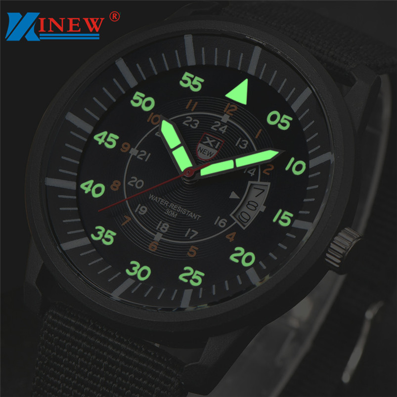 Orologio Uomo Marca Famosa 2016 Famous Brand XINEW Date Quartz Military Watch Men Soldier Canvas Strap Army Watches Saat Feida