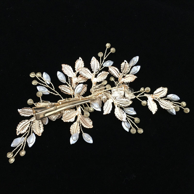 SLBRIDAL Handmade Golden Austrian Crystals Rhinestones Flower Leaf Wedding Hair Clip Barrettes Bridal Headpiece Hair accessories 2