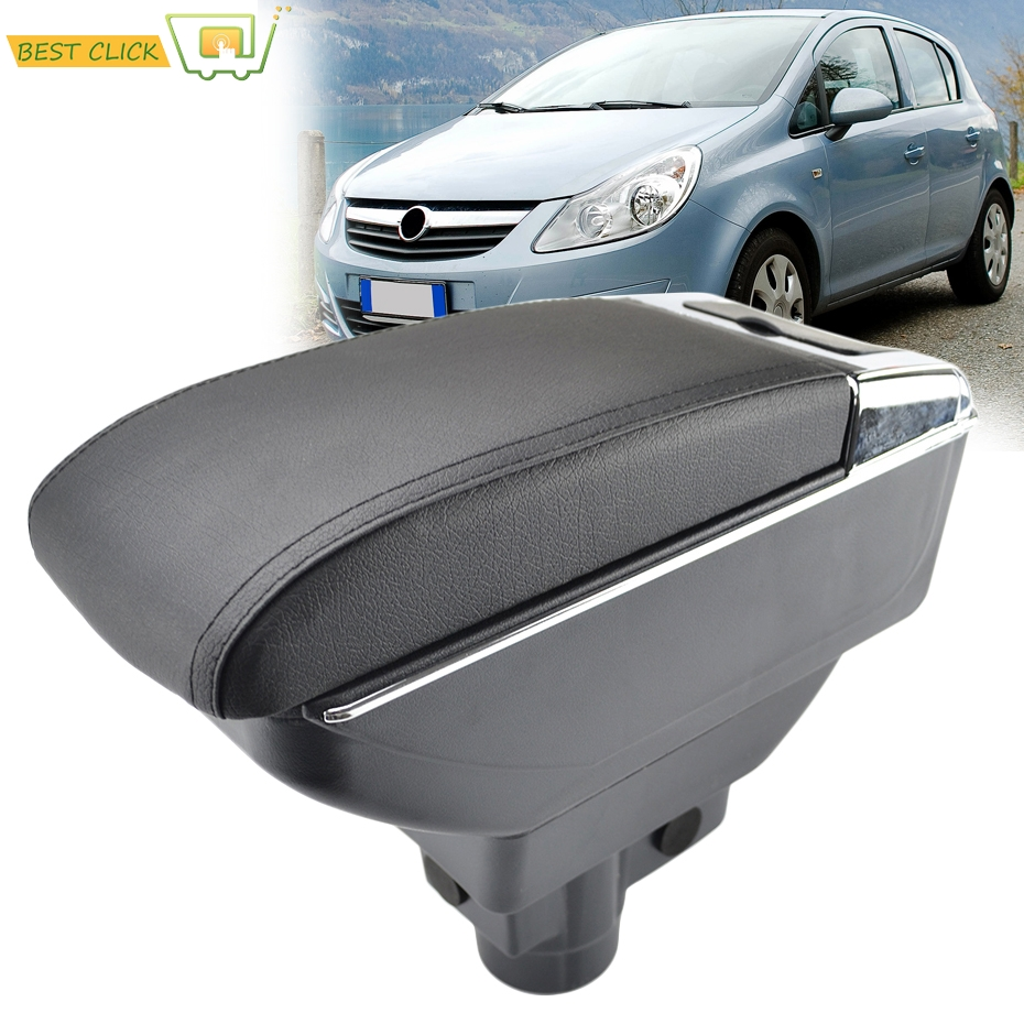 Storage Box For Opel Vauxhall Corsa D 2006 2014 Arm Rest Dual Layer Armrest Black Leather