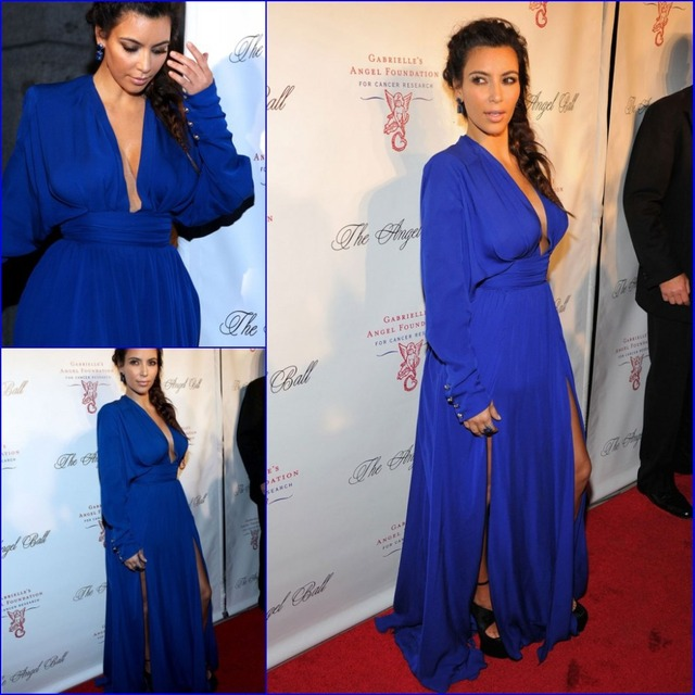 0c30da8ecde Custom made Plunging V Neck Royal Blue Chiffon Kim kardashian Long Sleeve  Celebrity Dresses High Quality Cheap Red Carpet Dress