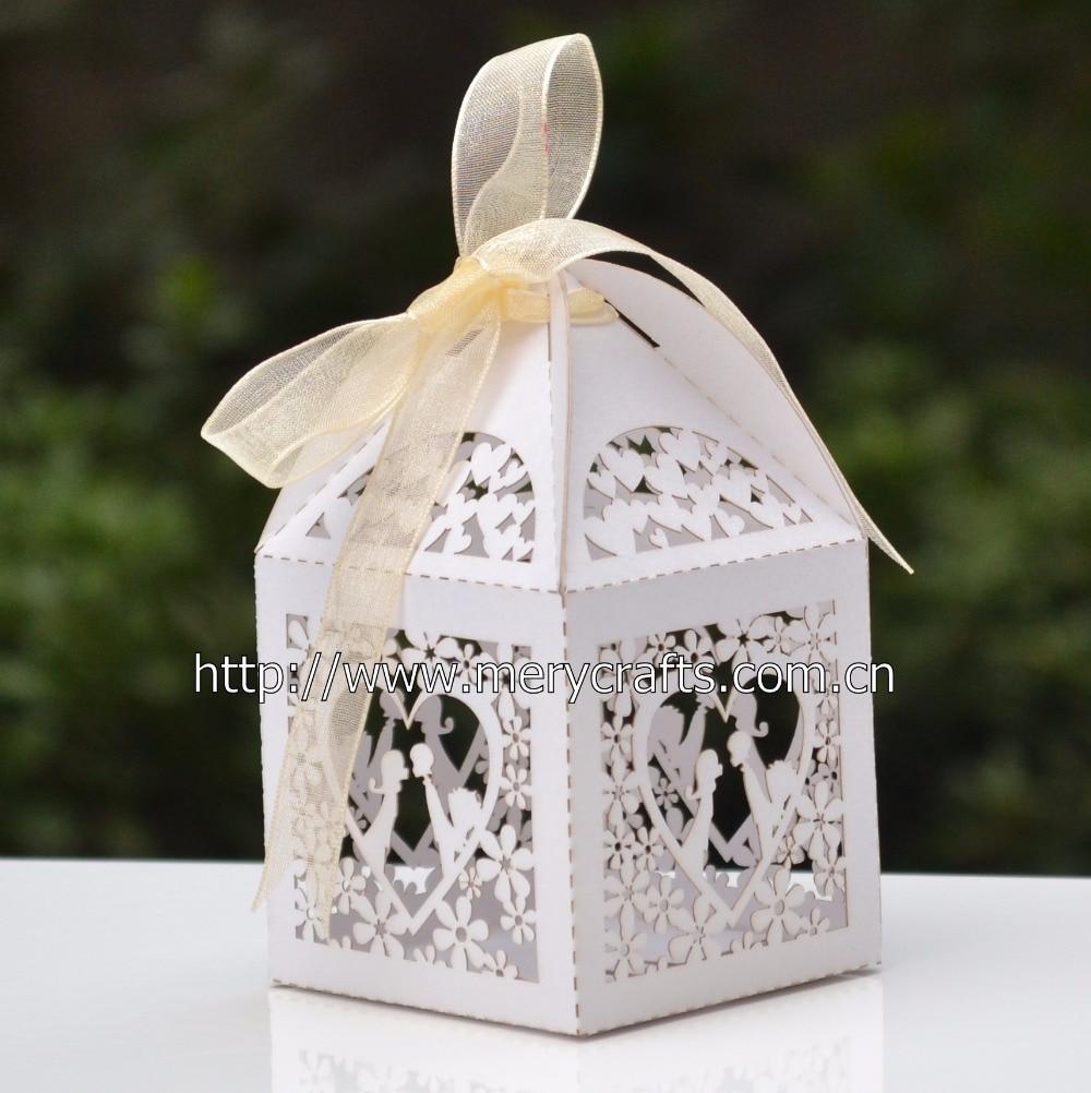200pcs/lot laser cut ivory favor box personalized wedding box ...