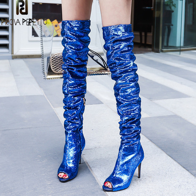 b68c8f303 Prova Perfetto Bling Bling Silver Blue Boots Over The Knee Thigh High Boots  For Women Sexy Peep Toe High Heel Shiny Sequins Shoe