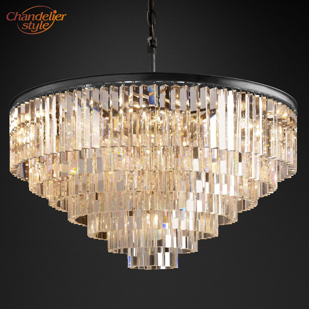 GREY SMOKE AND CLEAR ACRYLIC CRYSTAL  DROPS CHANDELIER CEILING LIGHT PENDANT