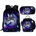 Школьный портфель с принтом для мальчиков Cool Galaxy/Universe Wolf  Детский Повседневный Рюкзак