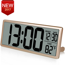 "13.8"" Large Digital Wall Clock Jumbo Digital Alarm Clock Oversied LCD Display Alarm Snooze Calendar Indoor Temperature C/F"
