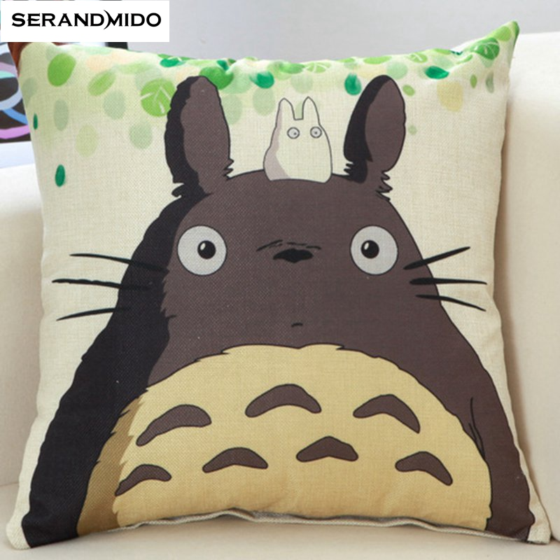 Cartoon Animal Pillow Case Lovely Cat Cushion Cover Gift For Children Linen Cotton Decorative Pillows Size 45*45cm capa almofada