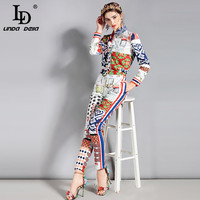 LD LINDA DELLA New Fashion Designer Runway Suit Set 2 Piece Set Women S Long Sleeve