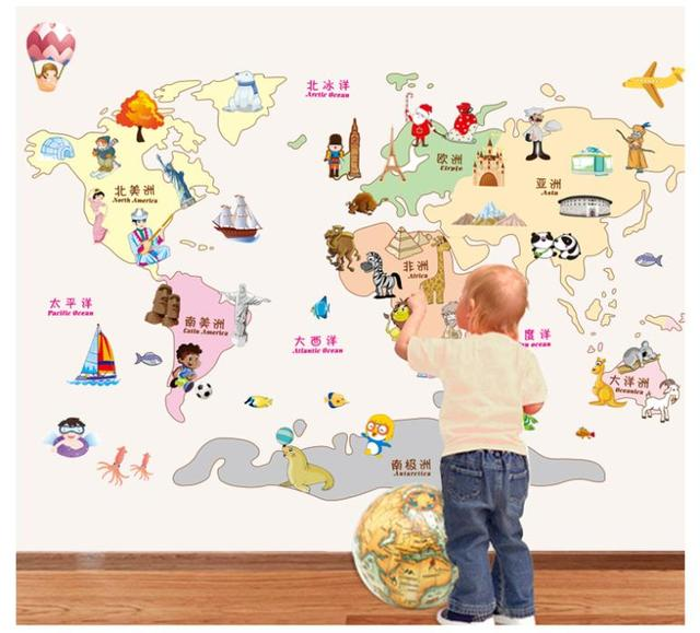 creative cartoon animals world map wall stickers for kids baby rooms ...