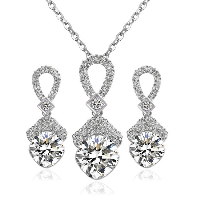 F&U Silver Color Zircon Crystal with Czech drilling Zinc Alloy Wedding Necklace and Earrings Jewelry Sets for Party S010