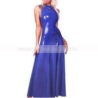Сексуальное темно синее резиновое латексное женское платье ручной работы настраиваемый латексный прорезиненный костюм костюмы S LD088