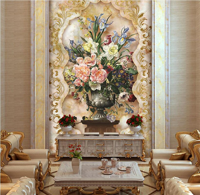 Custom Stereoscopic Wallpaper Modern Wall Murals Living Room Decoration Entrance Hallway Oil Painting Flowers Mural