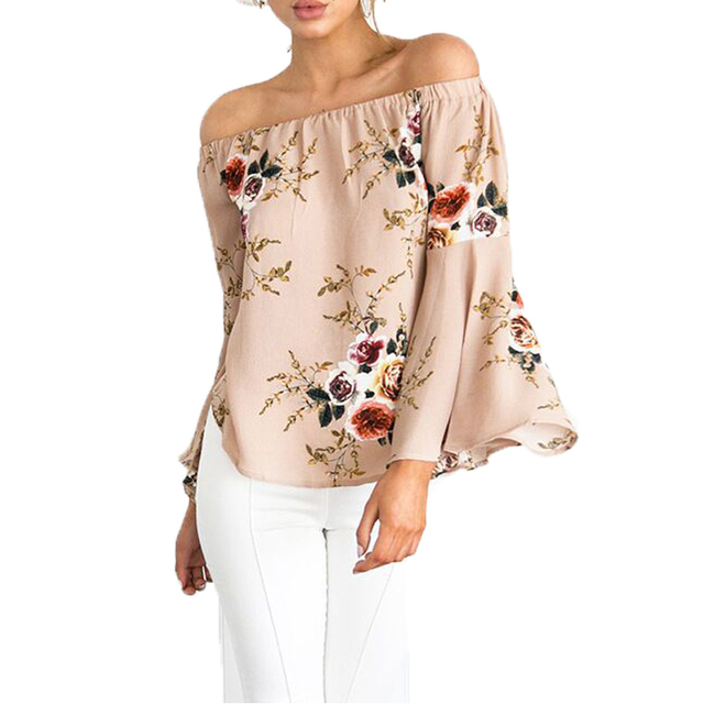 8ca98e6c4c4dc 2018 Summer Floral Print T-shirt Women Sexy Off Shoulder Yellow White Black  Red Short T-shirts Flare Sleeve Plus Size Casual Top