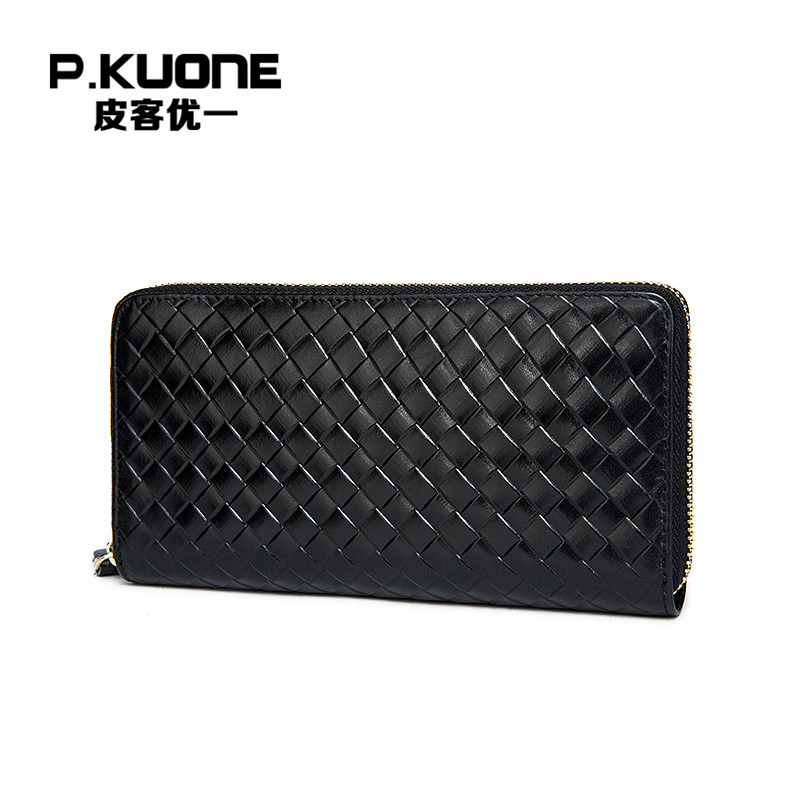 P.KUONE Famous Wallet Men Genuine Leather Men Clutch Bag High Quality Fashion Wallet Big Capacity Long Coin Purse Card Holder