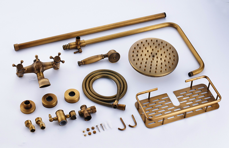 Antique-Brass-Bathroom-Shower-Faucet-With-Commodity-Shelf-And-Hangers-Mixer-Tap-Dual-Handles-Wall-Mounted