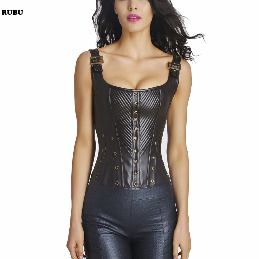 Women Gothic Lace Up Clubwear Sexy   Corset   Vintage Style Shoulder Strap Boned   Bustiers  &  Corsets   Top With Sleeve