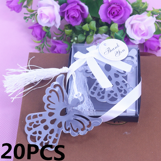 20PCS Angel Silver Metal Bookmark For Birthday Baby Shower Souvenirs