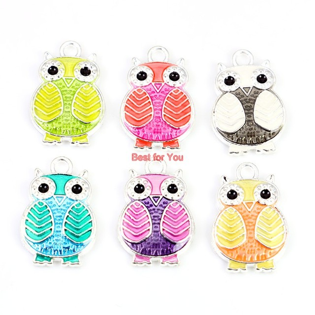 Silver Plated Owl DIY Charms 6pcs