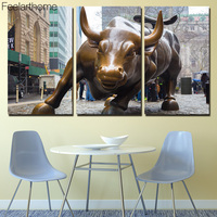 3 Piece Canvas Painting Bronze Bull New York Pose HD Posters And Prints Canvas Painting For