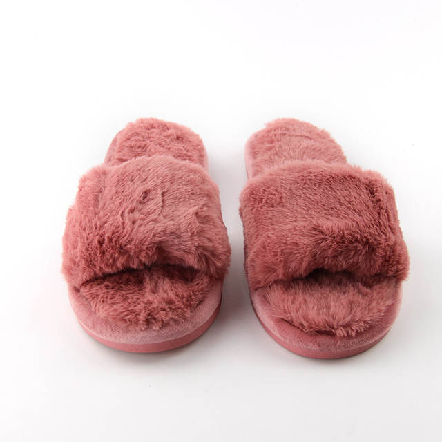 b83401a365d3 placeholder Fluffy Home Autumn Women Slippers Open Toe Soft Comfortable Plush  Flip Flop High Quality Fleece House