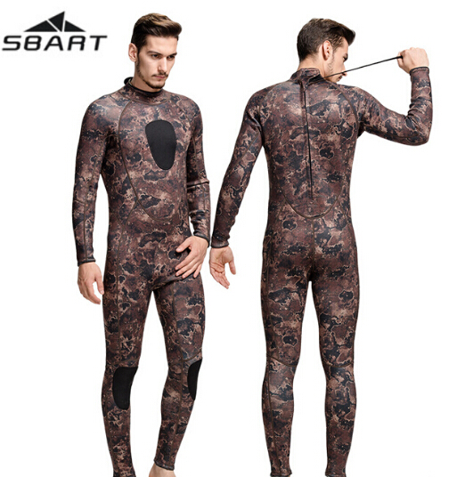 SBART 3MM Men Neoprene Surfing Suit Wetsuit Camo Swimming Fishing Wetsuit Camouflage Diving Jumpsuit Spearfishing Wetsuit mens camouflage 3mm neoprene wetsuit weight belt vest veste for spearfishing fishing clothes women