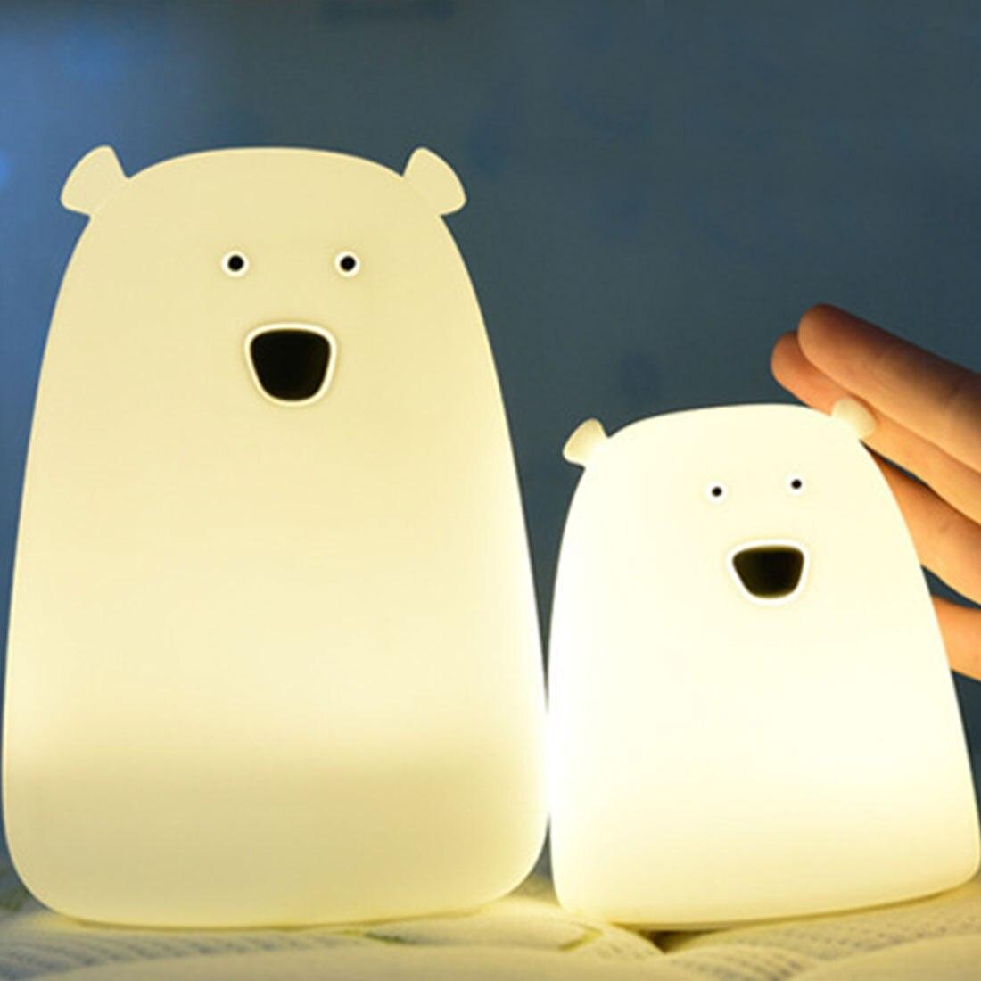 Crianças Bebê Quarto Noite Lâmpada Urso Silicone Bonito LED Night Light Color Changing LED Luz de Cabeceira para Crianças Brinquedo do Miúdo presente