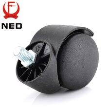 Ned 2 «Универсальный Колёсики черный Mute 360 градусов поворотный винт Нитки Колёса для офиса стул дома табурет Мебельная фурнитура