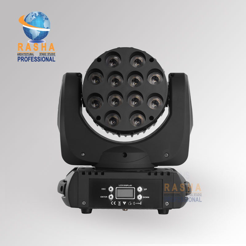 NEW 12PCS*10W 4IN1 Cree RGBW LED Beam Moving Head Light With LCD Display Stage Disco Party Moving Head Beam Stage Light