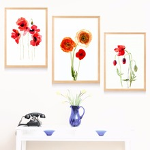 Poppy Flower Watercolor Canvas Art Print Painting Poster Wall Pictures For Living Room Home Decorative Decor No Frame