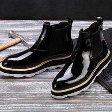 Ботильоны без шнуровки Мужские модельные туфли красивые туфли в стиле кэжуал из натуральной кожи с острым носком и эластичной лентой на платформе, увеличивающие рост