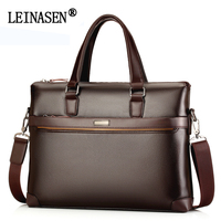 LEINASEN Brand Leather Business Handbags Men Casual Crossbody Bags Men S Fashion Shoulder Bag Laptop Briefcases