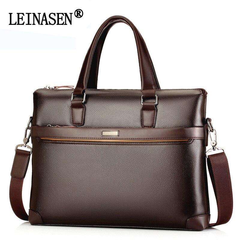 LEINASEN Brand Leather Business Handbags Men Casual Crossbody Bags Men S Fashion Shoulder Bag Laptop Briefcases