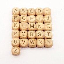 WD208(10),(принимаются буквы) бук Деревянный Алфавит A-Z буквы квадратные деревянные разделители бусины для ребенка зубопрорезыватель пустышка Клип сделай сам