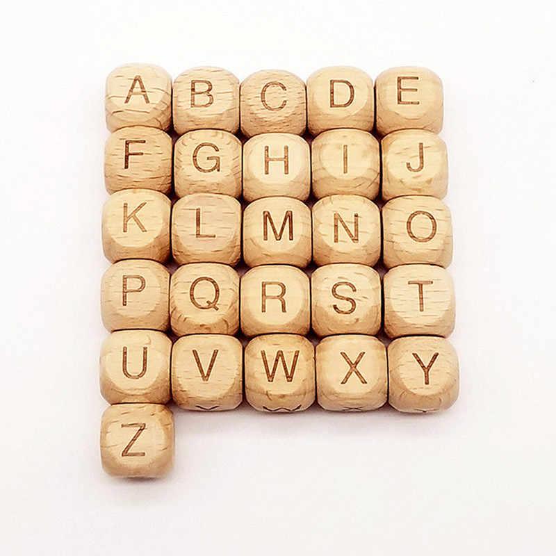 Wd208 (10), (aceitar letras de picareta) alfabeto de madeira de faia A-Z letras quadrados contas espaçador de madeira para bebê mordedor chupeta clipe diy