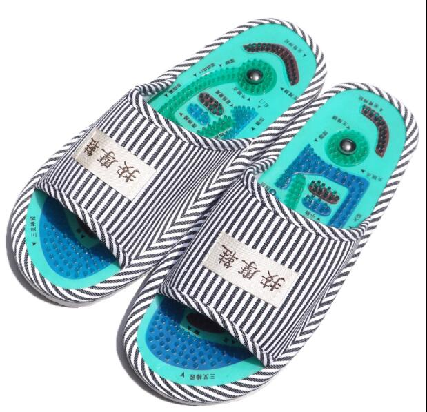 Summer Style Foot Acupoint Massage Shoes Foot Health Care Magnet Therapy Slippers Striped Pattern Indoor Shoes For Women & Men 2