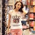 Nova Verão 2015 Plus Size Coreano Moda T Shirt Mulheres Tops Carta Imprimir Strass Fino de Algodão Casual Camisetas M-XXXL